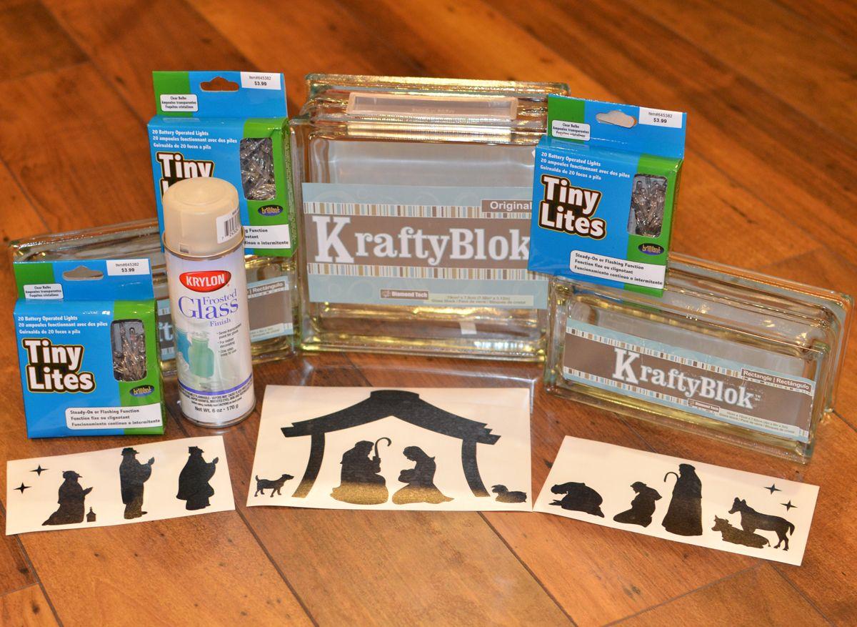 KraftyBlok Nativity Scene With Vinyl Decals Tutorial Supplies - Nativity vinyl decal for glass block light