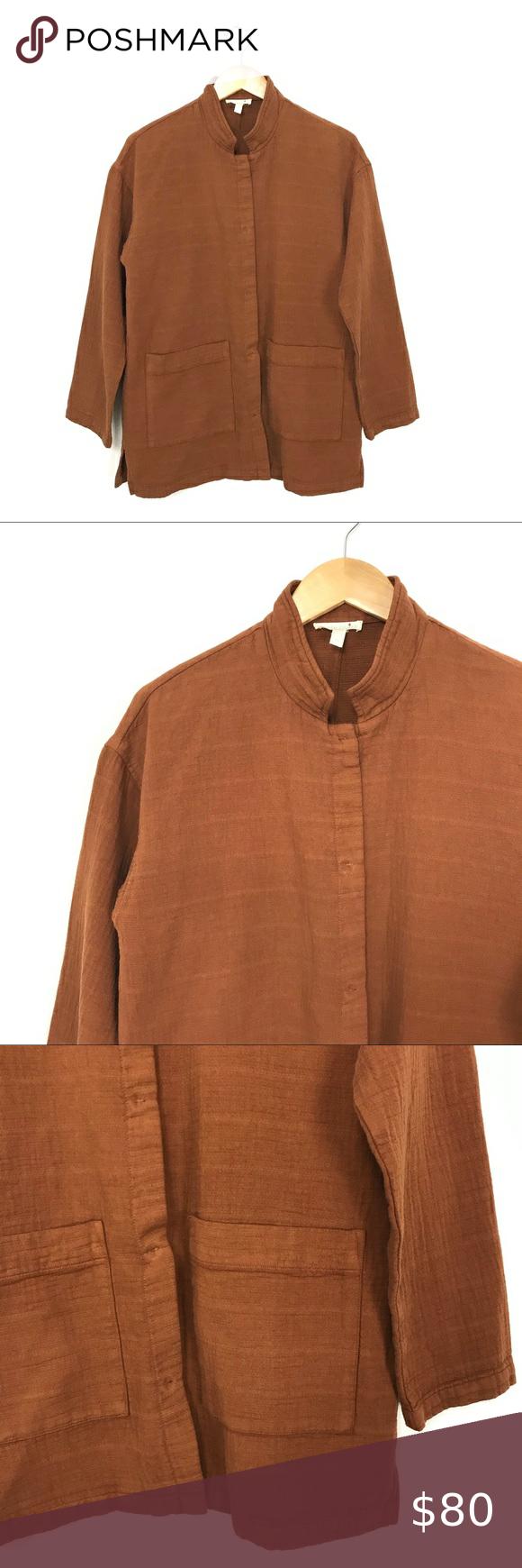 Eileen Fisher Organic Cotton Jacket Rust Orange A2 In 2020 Cotton Jacket Stand Collar Jackets Black Jacket Blazer [ 1740 x 580 Pixel ]