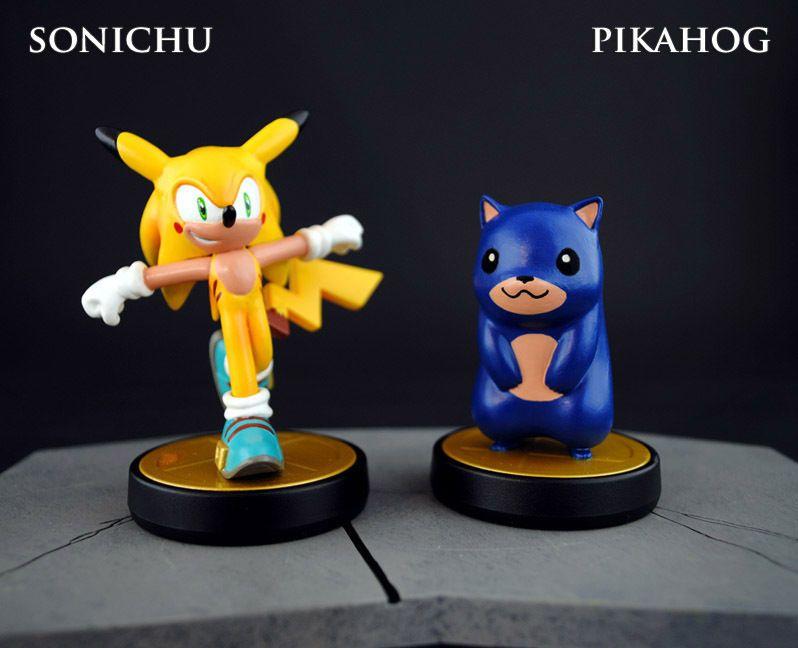 Custom Sonichu And Pikahog Amiibo Sonic The Hedgehog Pikachu Figures Amiibo Sonic Pikachu Amiibo