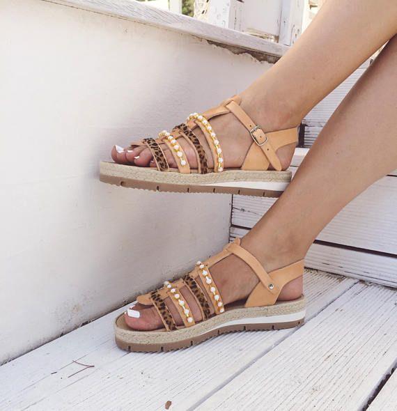 e6574c13d358a Sandals, Leather Gladiator Sandals, Flat Sandals, Women's Sandals ...