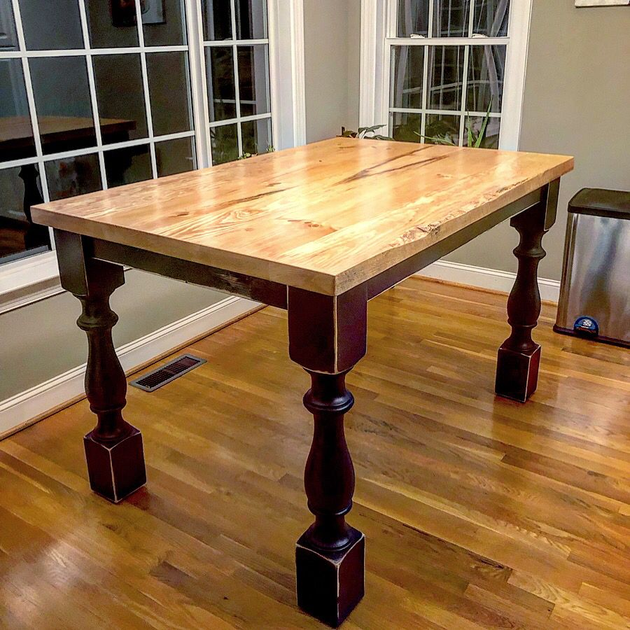 Counter height farmhouse table built by hillbuildit
