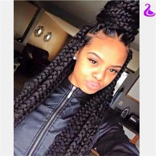 big braid hair styles hotsalenatural black braided synthetic lace front 9054