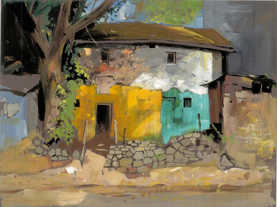 Milind Mulick Village House 1 Watercolor Landscape Paintings Watercolor Landscape Painting