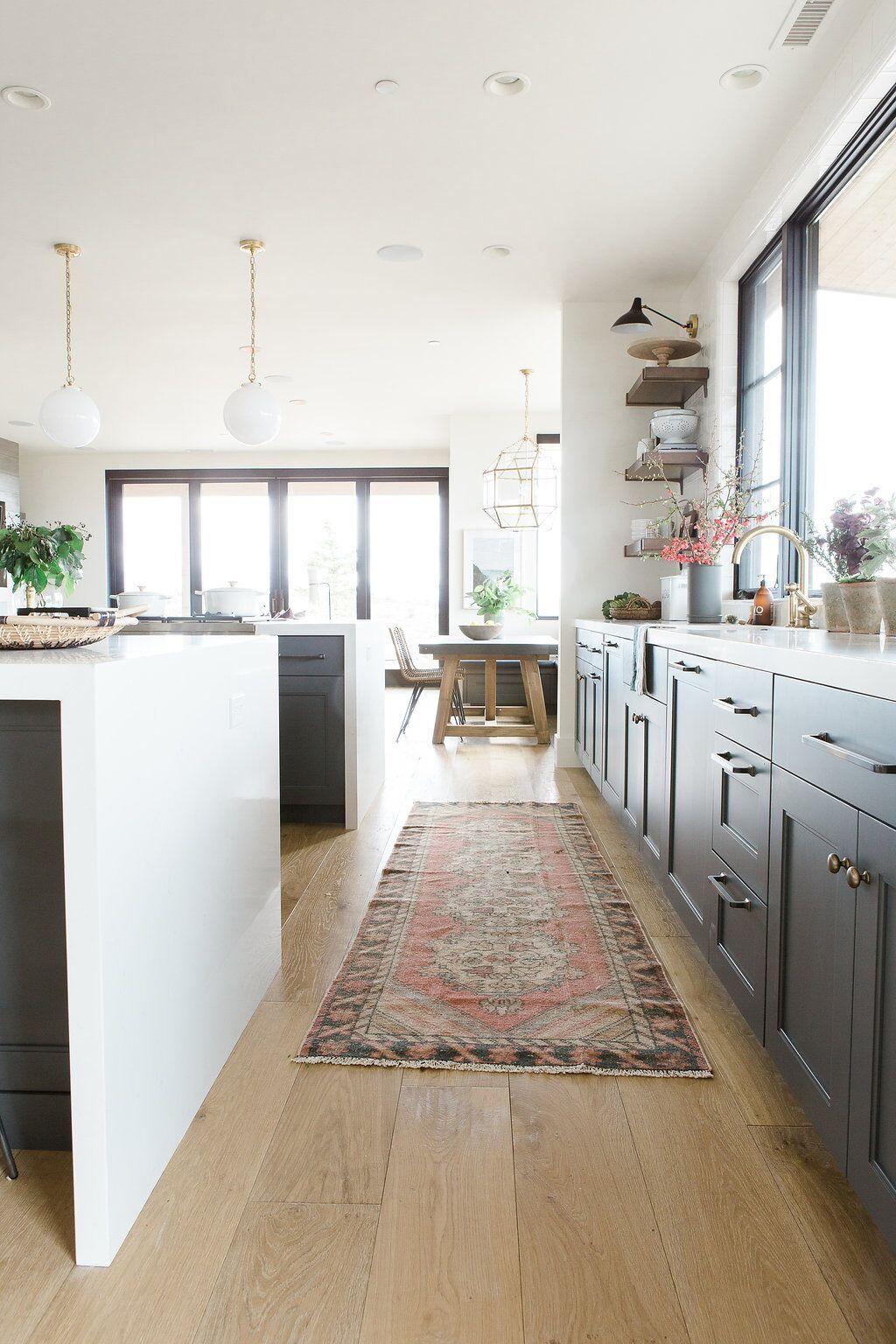 Modern kitchen with deep walnut open shelves