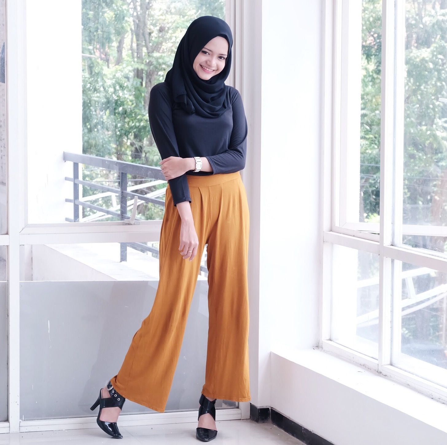 Mustard wide pants cullotes black hijab black shirt black shoes high heels college school casual ...