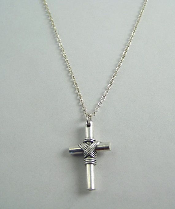 Cross with Rope Necklace by FaithHopeAndBeads on Etsy