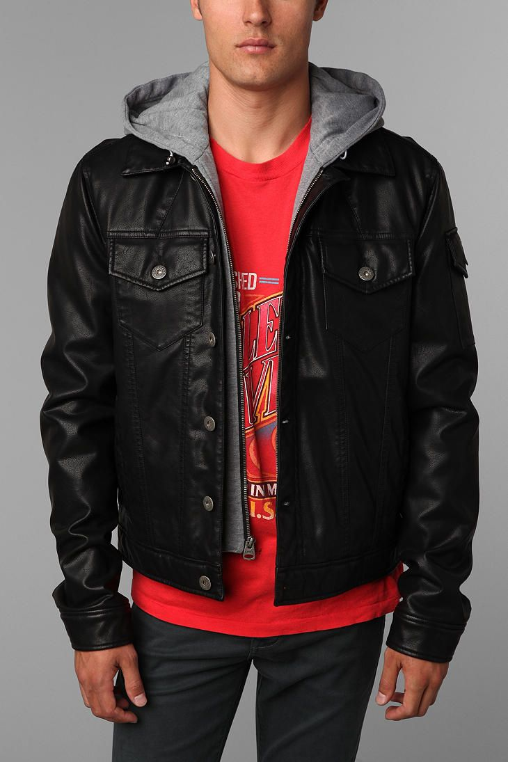 Levi S Faux Leather Hooded Jacket Faux Leather Hooded Jacket Leather Jacket With Hood Urban Outfitters [ 1095 x 730 Pixel ]