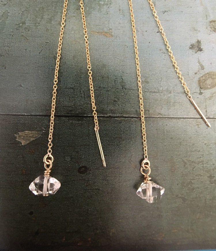 Herkimer diamond threader earring 14k gold filled chain