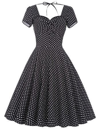 155b2dc38 Popular Retro Vintage Short-Sleeve Polka Dot Print 50 s Style Full Skirt  Cotton Dress 3 Colors S-XL