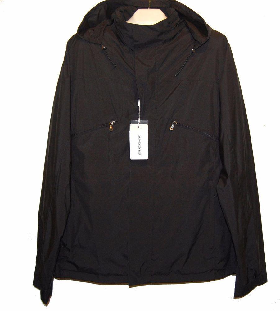 Versace Black Men's Rain Coat Hidden Hood Jacket Size US 46 EU 56 ...