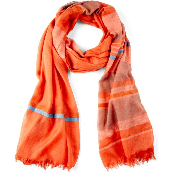 Sole Society Stripe Scarf (92 AED) ❤ liked on Polyvore featuring accessories, scarves, coral, colorful scarves, striped scarves, sole society, colorful shawl and multi colored scarves