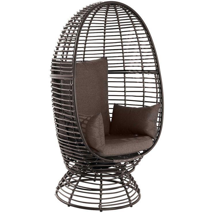 Foster wicker swivel egg chair brown wicker swivel