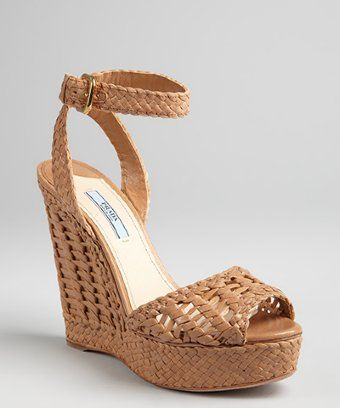 Cinderella Peep Wedge Sandals Nude Prada Toe Shoes Leather Woven Snq0xORz