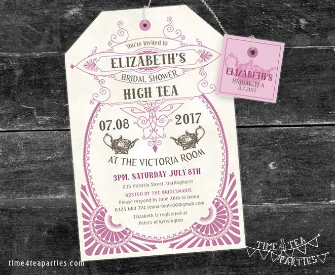 Vintage Tea Bag Tea Party Invitation 1920s Art Deco Bridal Tea – Art Deco Party Invitations