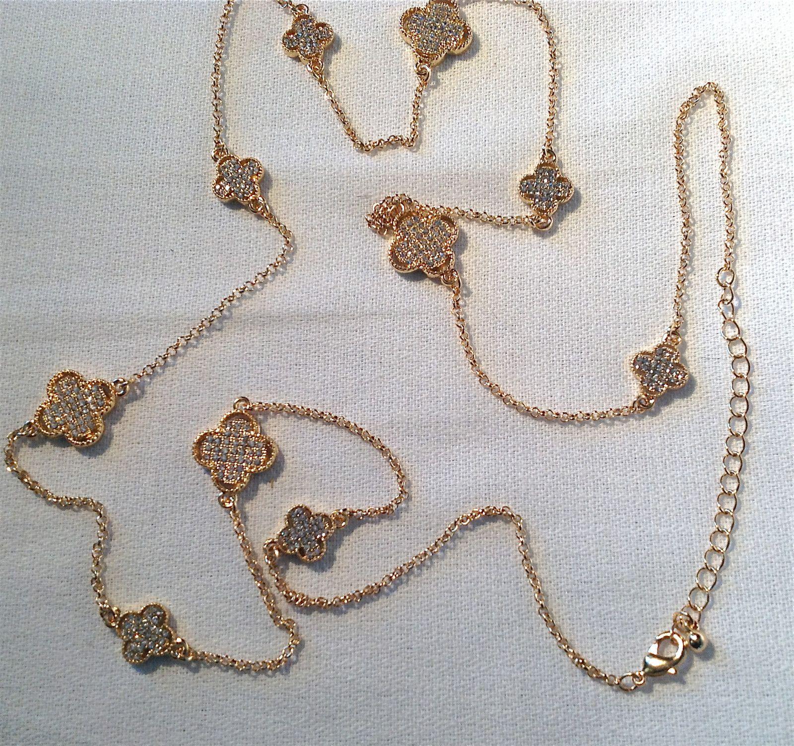 "Van Cleef Inspired Quatrefoil Clover Necklace Clear Crystal Gold Rhodium 36"" NWT | eBay"