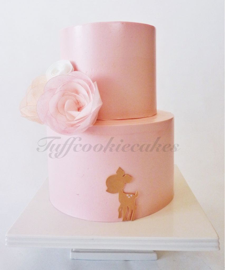 Simple Clean Buttercream Iced Cake Wafer Paper Flowers And Cute