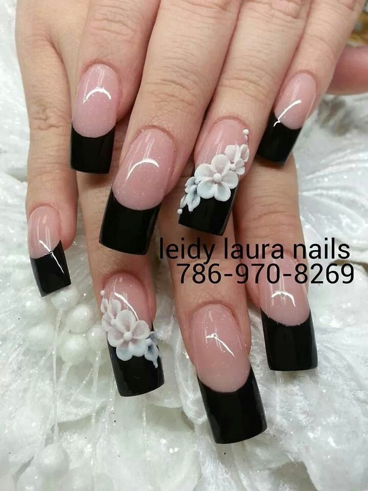 Wedding nails. Change the nail color to royal blue and the flower ...