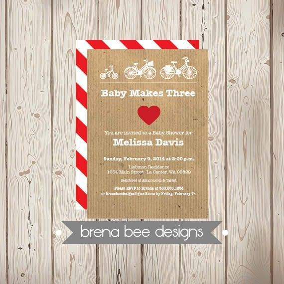 Personalized Baby Shower Bike Invitation Baby Makes Three Custom Printable Vintage Bicycle Love Personalized Baby Shower Baby Boy Shower Baby Shower