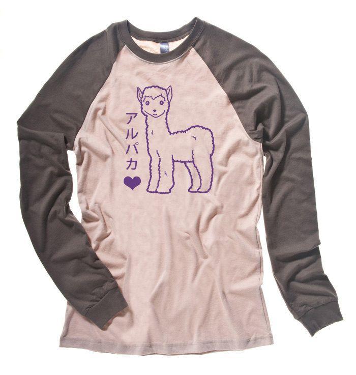Kawaii Alpaca Shirt cute llama t-shirt animal shirt japanese long sleeve kawaii clothing cute baseball tee llama plushie alpaca harajuku SxB5ih303