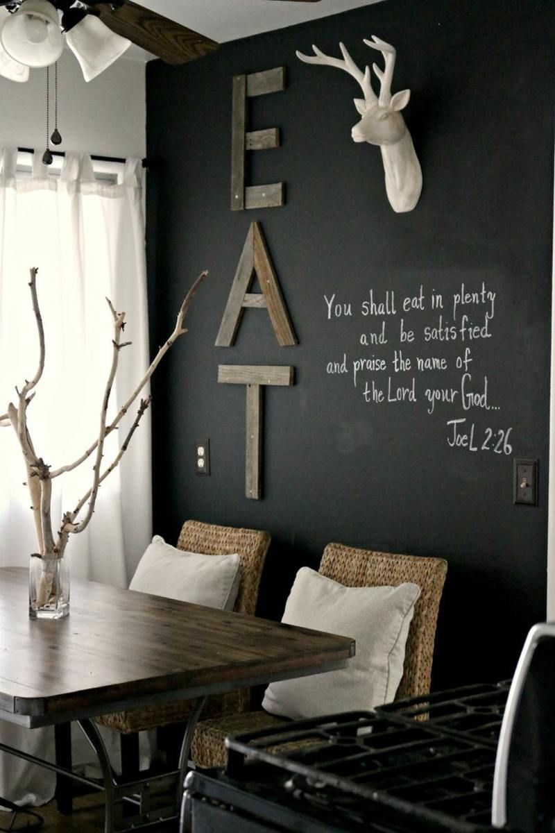 Schwarzweie Wandgestaltung im Esszimmer  Einrichten und Wohnen  Rustikales wohnzimmer