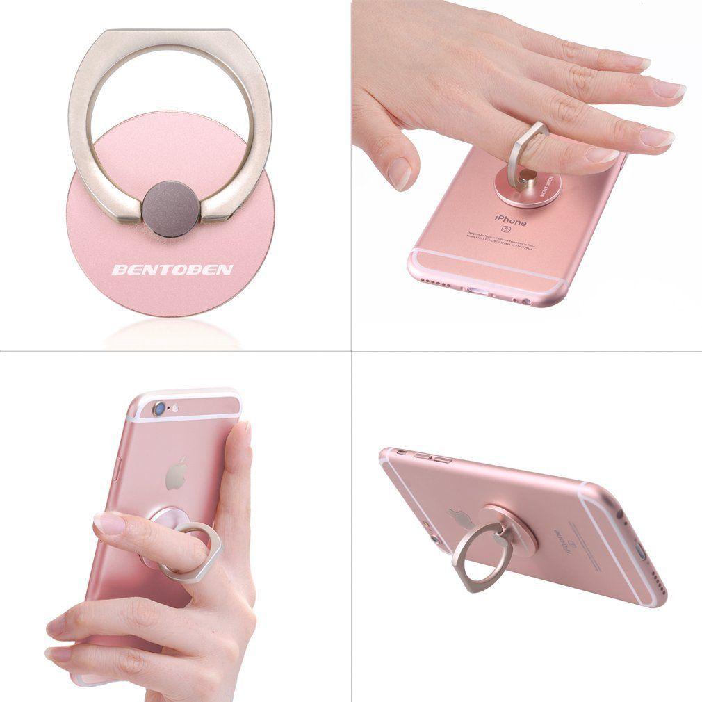 Amazon.com: Ring Stand, BENTOBEN Cell Phone Stand Holder Desk Stand 360 Rotation Aluminum Portable Ring Grip Stand for iPhone 5s 6 Plus SE Samsung Galaxy S7 Edge S6 Edge Note 5 and any other phones - Rose Gold: Cell Phones & Accessories