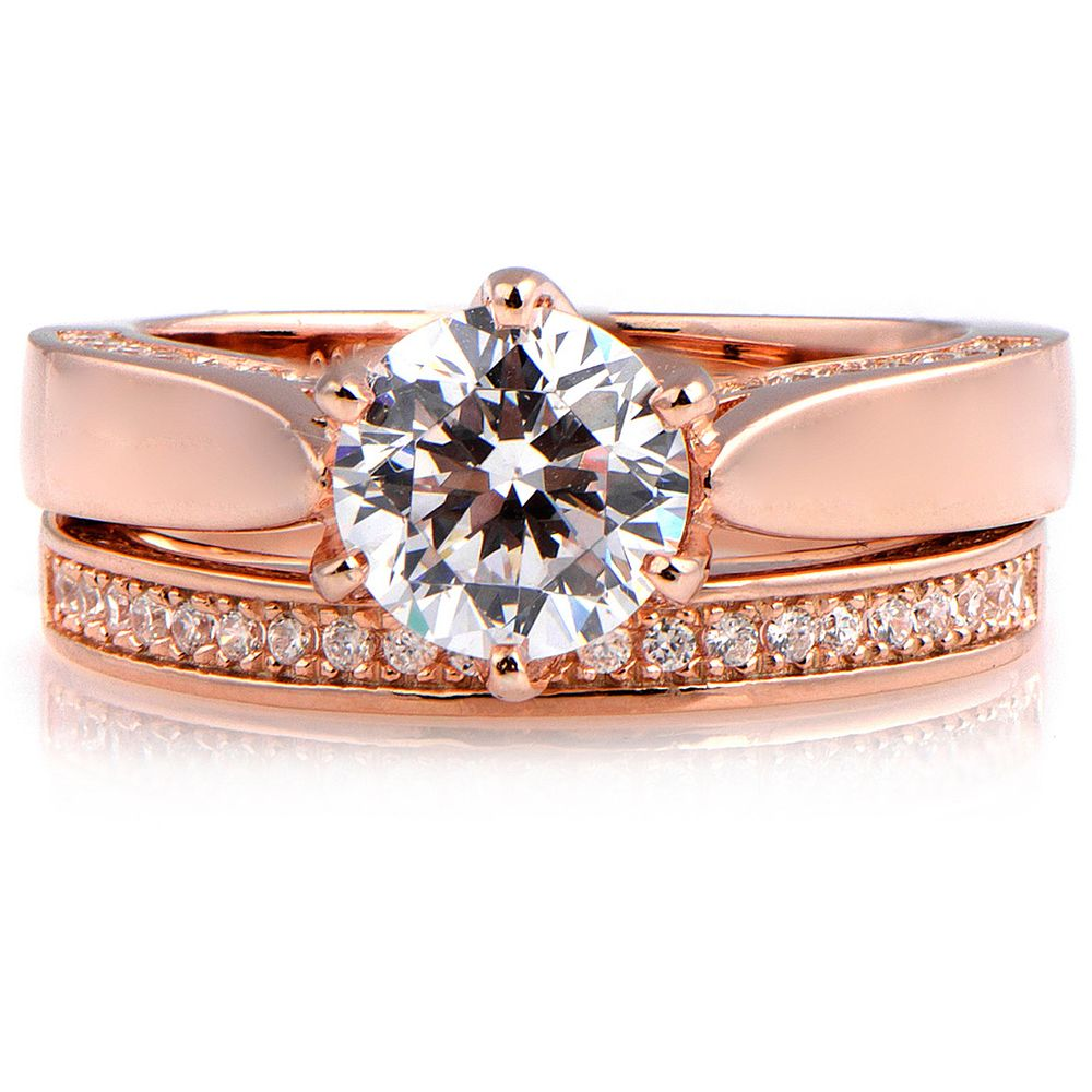 rose gold over sterling silver cubic zirconia engagement ring - Overstock Wedding Rings