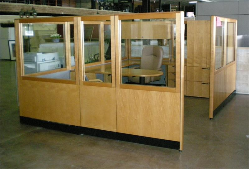Used kimball glass and wood wall cubicle workstation