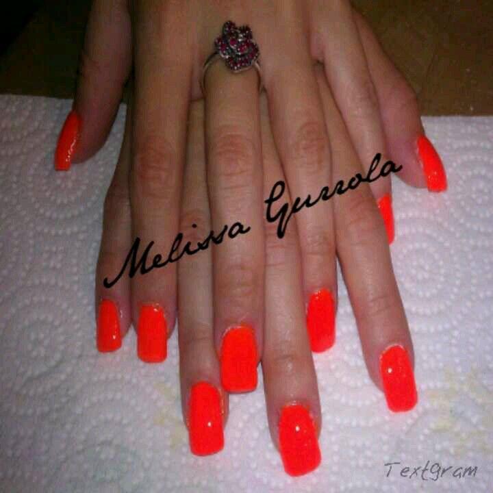 Bright Orange Red Nail Polish (acrylic Nails)