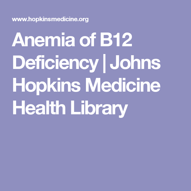 Anemia of B12 Deficiency | Johns Hopkins Medicine Health Library