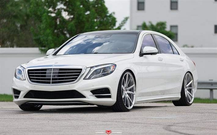 Mercedes Benz S550 W222 2017 Luxury White Sedan Tuning Vossen Wheels S Cl