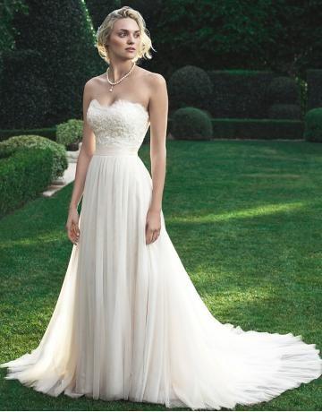 A-linie Elegante Einfache Brautkleider aus Softnetz mit Applikation ...
