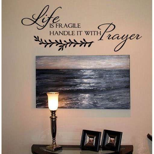God Vinyl Quote Wall Decal Sticker Christian Religious Cross Wall ...