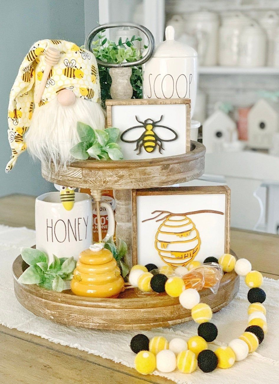 Bee signs / honey signs / bee decor / 3D signs / summer signs / spring signs / tiered tray decor / rae Dunn decor / coffee bar / bee decor
