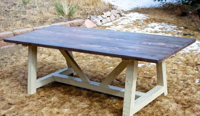 Ana White Trestle Table Plans Trestle Table Plans Diy Farm Tables Outdoor Farm Table