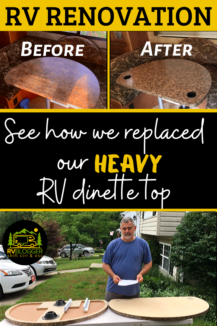 No More Heavy Rv Dinette Table Top See How We Replaced Our Heavy Rv Dinette Top This Video Shows You Step By Step Instr In 2020 With Images Dinette Tables Dinette