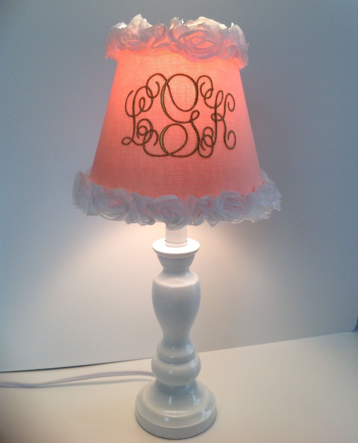 Shabby peach monogrammed lamp shade your choice for monogram color shabby peach monogrammed lamp shade your choice for monogram color mozeypictures Images