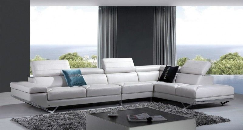 Modern Living Room Idea White Sectional With Adjustable Headrests And Metal Bases Contemporary Sectional Sofa Leather Couches Living Room Modern Sofa Sectional