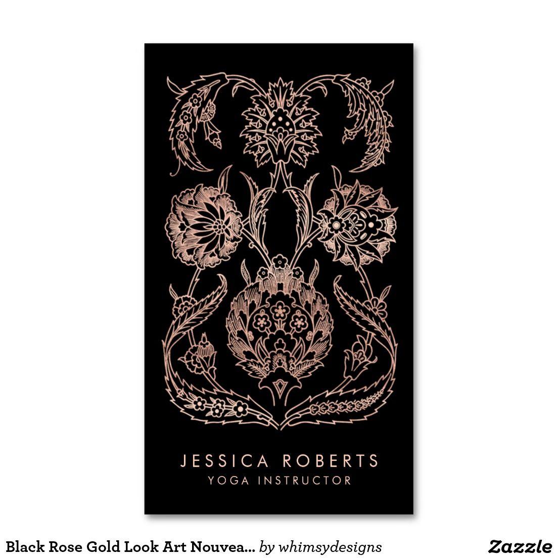 Black Rose Gold Look Art Nouveau Floral Fashion Business Card | Yoga