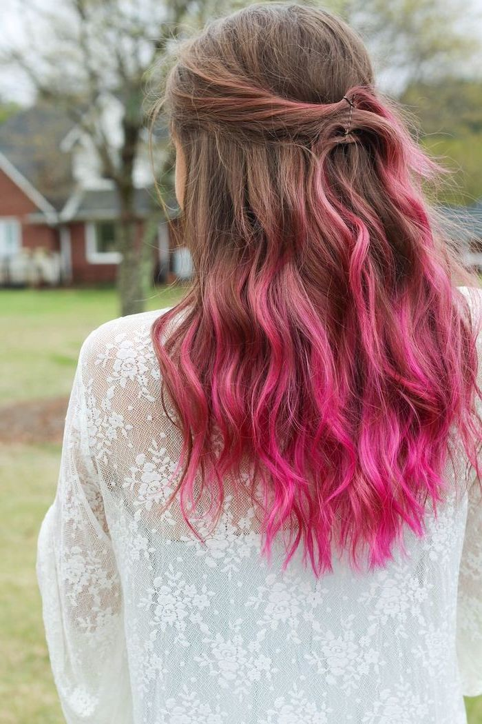 Brown To Pink Ombre Curly Hair Medium Length White Lace Top In 2020 Ombre Hair Color Pink Ombre Hair Hair Color Pink