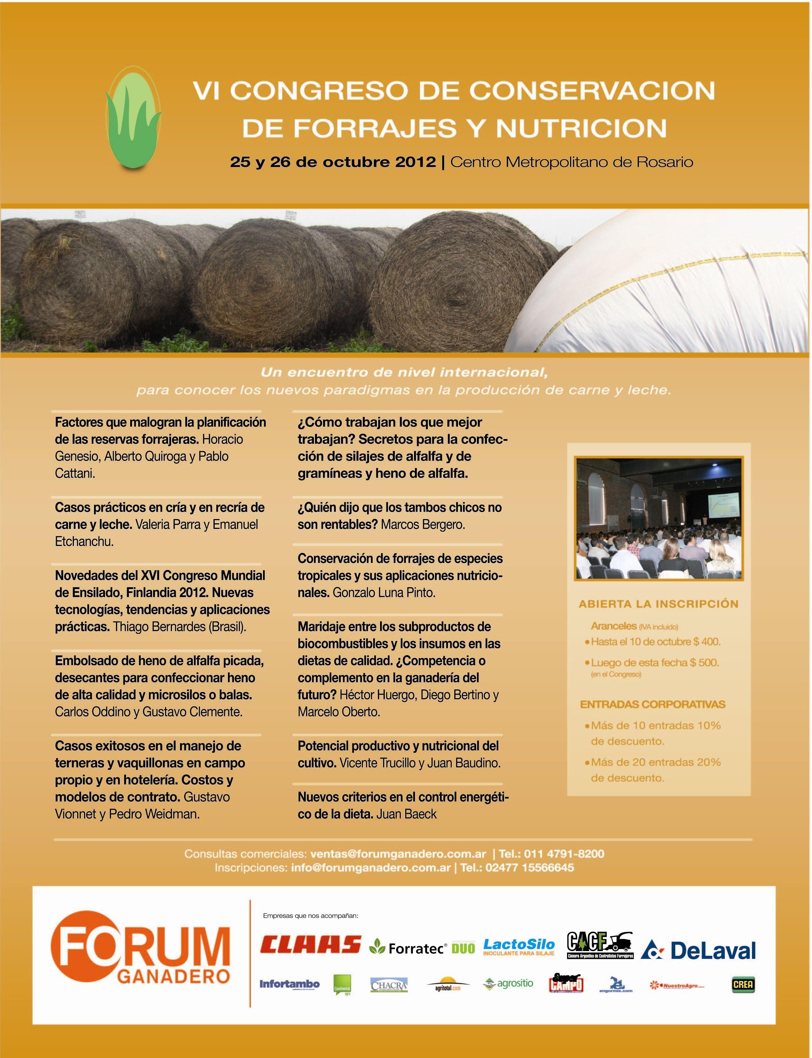 VI Congreso de Forrajes y Nutrición 24 y 25 de octubre-Rosario. Nuevos…
