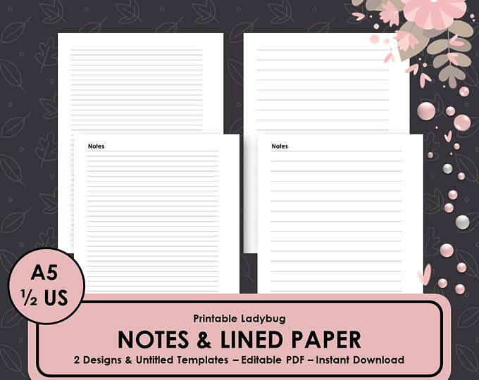 Printable Notes,Notes Pages,Notes Paper,Lined Paper, Printable - printable lined paper