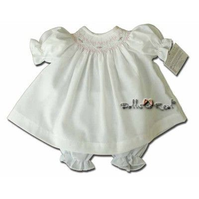 """Classic 15"""" White Smocked Doll Dress by Rosalina - Dolls so Real Inc - 1"""