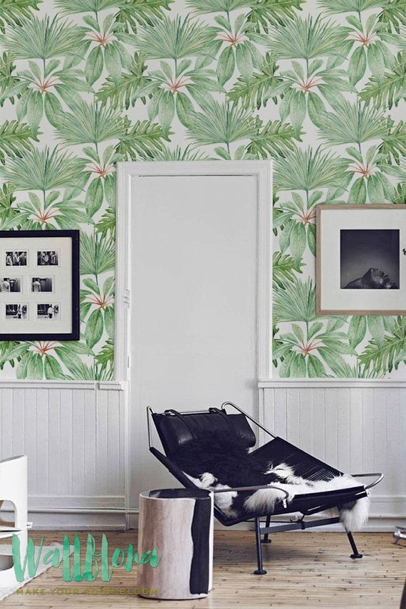 Tropical Pattern Wallpaper, Exotic Removable Wallpaper, Palm