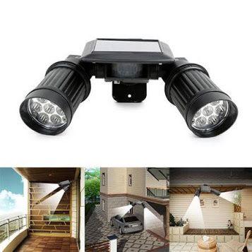 Adjustable 14 LED Solar Powered Motion Sensor Dual Head Lights Spotlight Outdoor