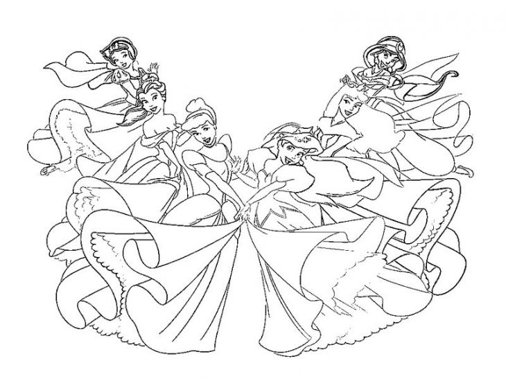 all the disney princesses together dancing coloring page