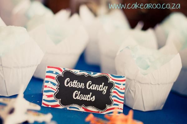 Blue cotton candy served as cloud Great idea party idea