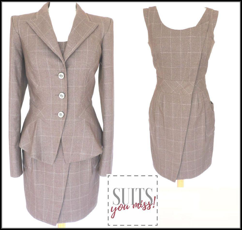 Ladies Womens Next 3 Piece Suit Uk10 Dress Peplum Jacket Trousers