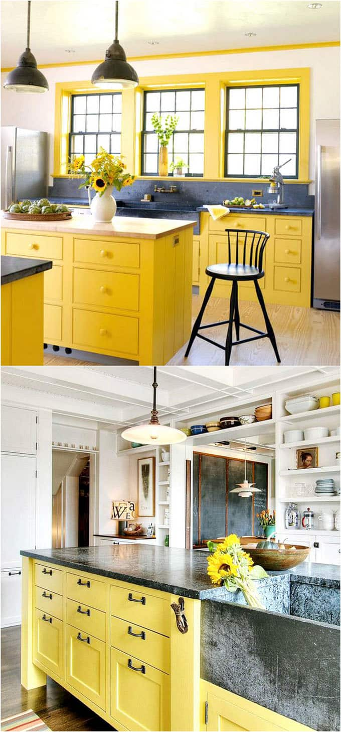 25 Gorgeous Kitchen Cabinet Colors Paint Color Combos A Piece Of Rainbow Kitchen Design Color Yellow Kitchen Paint Kitchen Cabinet Colors