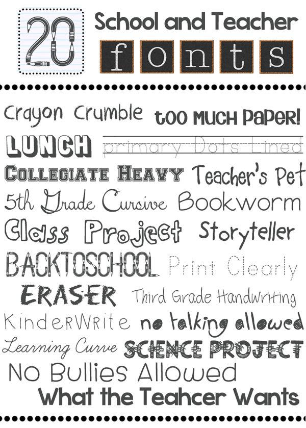 bits of everything  school and teacher fonts