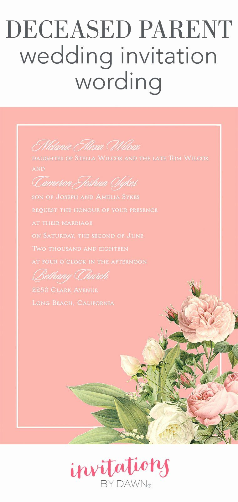 Wedding Invitation From Child Wording Luxury Deceased Parent Wedding Invitati In 2020 Wedding Invitation Message Sample Wedding Invitation Wording Marriage Invitations